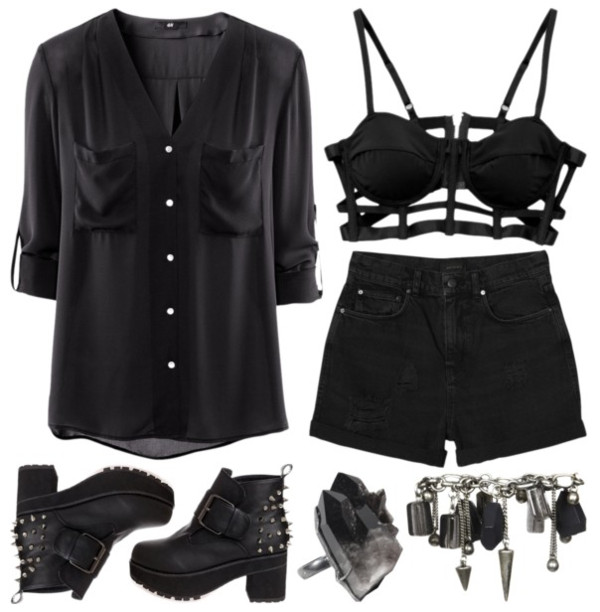 underwear grunge black goth shoes
