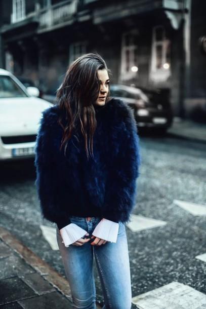 23180eec6c4b coat blue coat fuzzy coat denim jeans tumblr blue jeans winter outfits  winter look faux fur