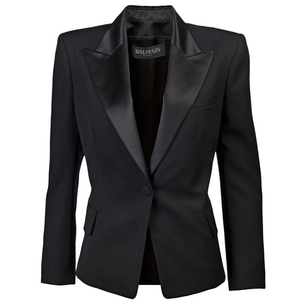 Balmain 7910223b black wool/polyester/silk tuxedo jacket
