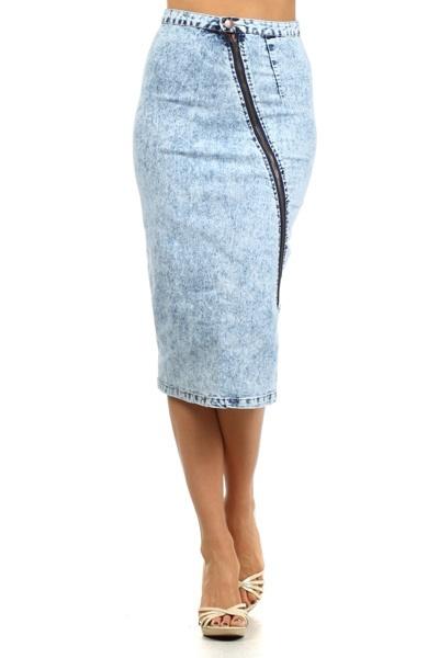 Acid Wash Midi Skirt With Long Zipper