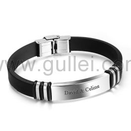 Engraved Leather Silicone Love Wristband for Him