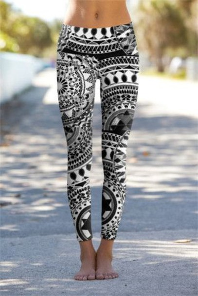 Leggings: black, white, pants, gym, black and white, yoga pants ...
