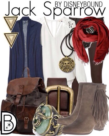 Belt bag scarf boots shirt pirates of the caribbean necklace