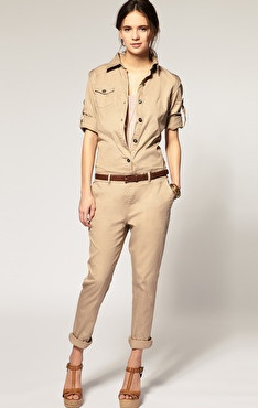 Khaki Long Sleeve Cotton Street Jumpsuit Pant - Sheinside.com
