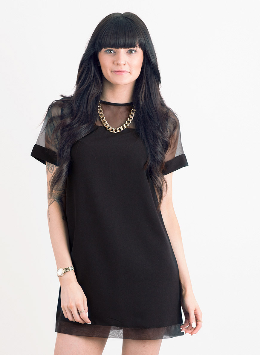 Love Black Mesh Shift Dress