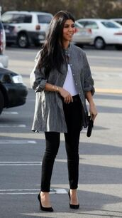 top,jeans,shirt,pumps,bodysuit,spring,spring outfits,fall outfits,shoes,kourtney kardashian
