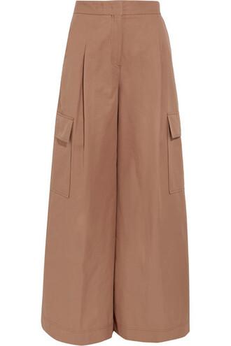 pants wide-leg pants tan cotton