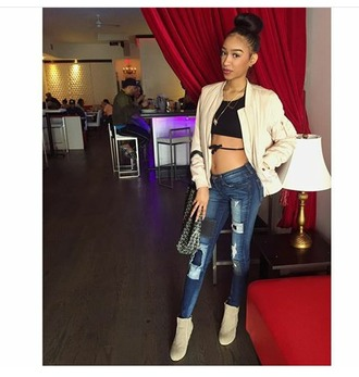 top _realprettybands wrap around top black blue jeans cream jacket dressy sneakers expensive wardrobe new york city black and cuban fashionista bad bitches link up bblu $$$$