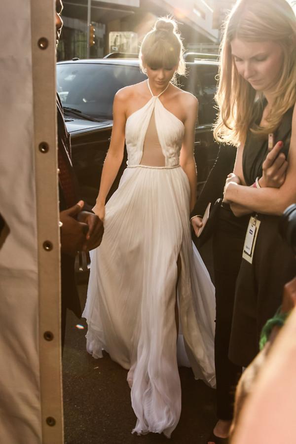 dress white white dress halter neck halter dress sheer flowy sweet taylor swift
