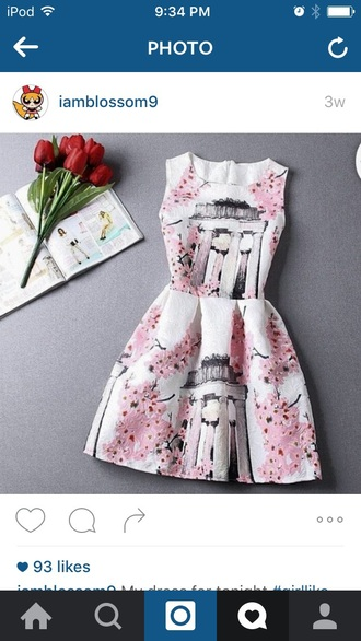 dress cherry blossom white dress pink dress white and pink dress flowers