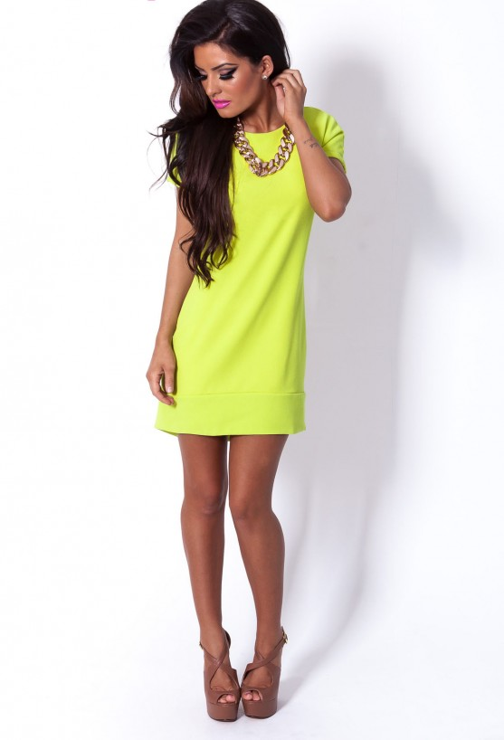 Limelight Lime Green Thick Lined Tunic Dress | Pink Boutique