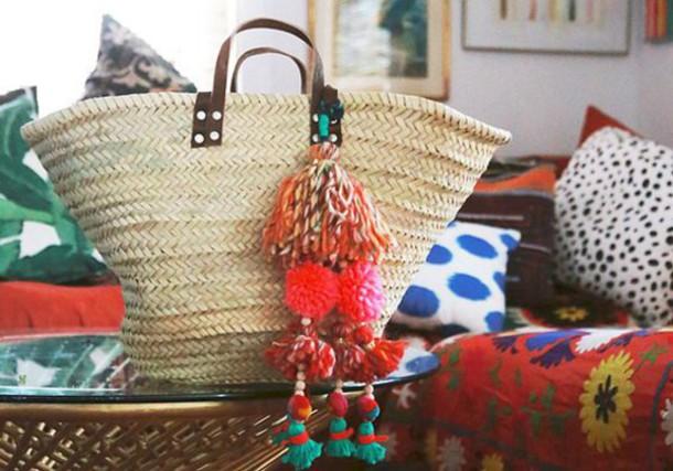 bag pompom bag pom poms basket bag basket tote beach bag pompom basket bag raffia bag