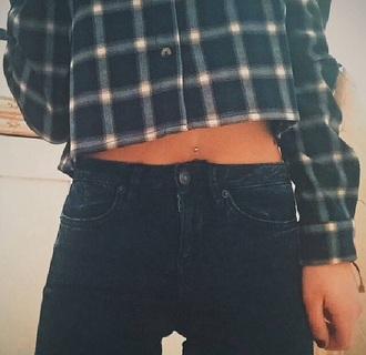 shirt crop tops top checkered checked shirt checkered shirt blue skirt blue jeans denim high waisted jeans style girly