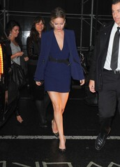 dress,navy,jennifer lawrence,shoes,jacket,fall outfits,short dress,All navy blue outfit