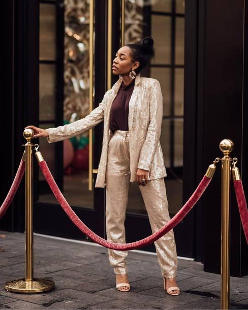 jacket sequined blazer sequin pants sandal heels top turtleneck