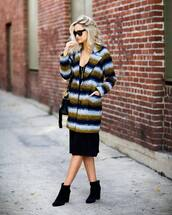 coat,tumblr,printed coat,dress,black midi dress,midi dress,boots,ankle boots,black boots,high heels boots,sunglasses,bag,black bag,late afternoon,blogger,shoes,jewels
