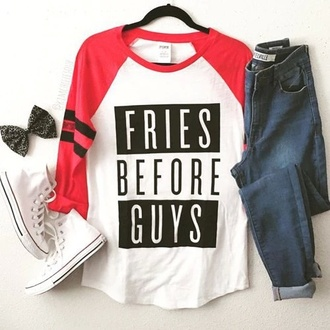 sweater style top t-shirt baseball tee fries before guys shirt shoes jeans pants converse red white black