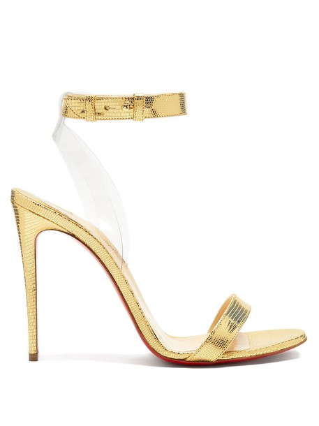 christian louboutin sandals leather sandals leather gold shoes
