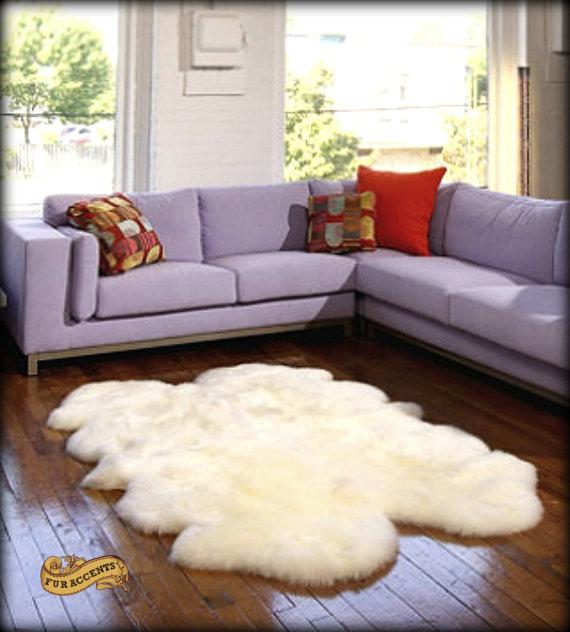 FUR ACCENTS Sheepskin Area Rug / Quatro Design / Shaggy Faux Fur / White Or  Off White
