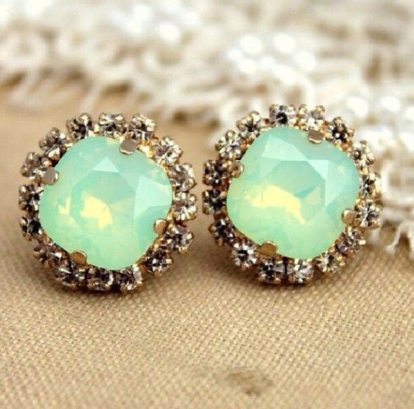 jewels earrings aqua studs