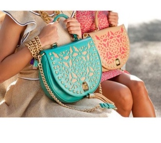 bag pink cute summer corall coral blue gold leather