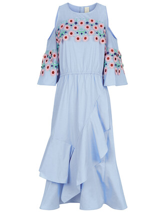 dress ruffle dress embroidered ruffle blue light light blue