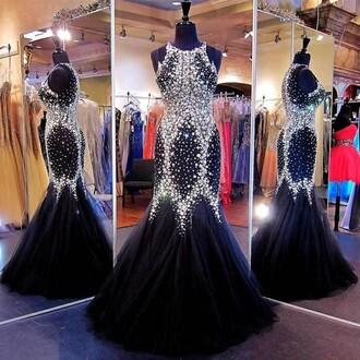 dress prom black maxi stones shiny