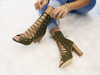 shoes chunky heels lace up olive green black