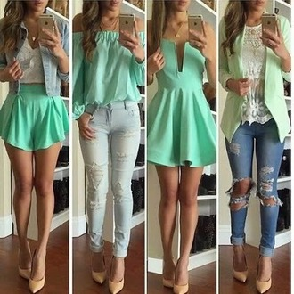 jeans ripped jeans dress cardigan blouse heels
