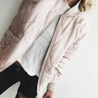 jacket tumblr pink jacket silk jacket t-shirt white t-shirt jeans black jeans