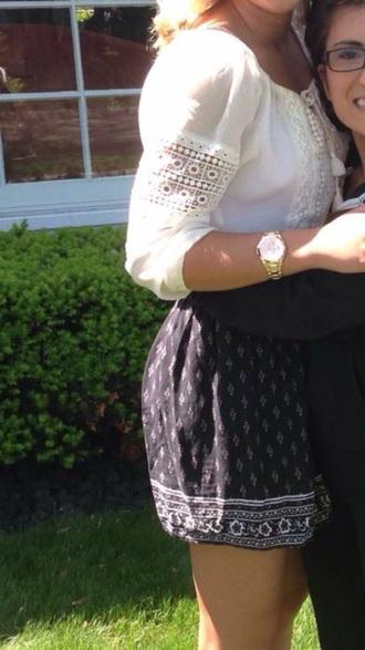 skirt boho pattern blue embroidered navy white skirt cream preppy