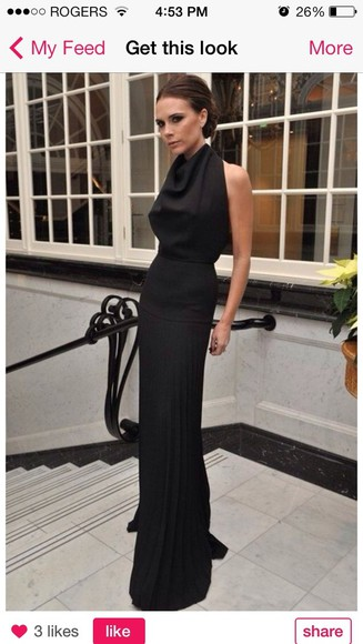dress victoria beckham black dress, long dress