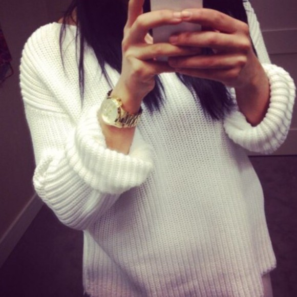 white sweater top instagram ig iphone iphone 5s ckick popular clock