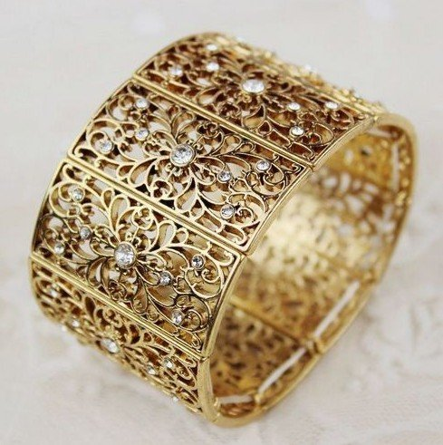 Free Shipping 2012 New Arrivals Fashion Bangles Hot Wholesale Crystal Gold Plated Stretch Bangle Bracelet Fashion Bracelet-in Wholesale from Jewelry on Aliexpress.com