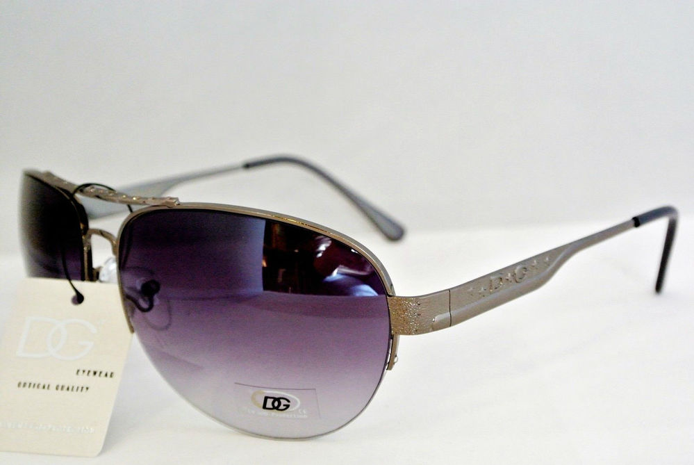 New DG Sunglasses Metal Aviator Style 1 2 Rimmed Lens Stars Gun Metal Grey 277 | eBay