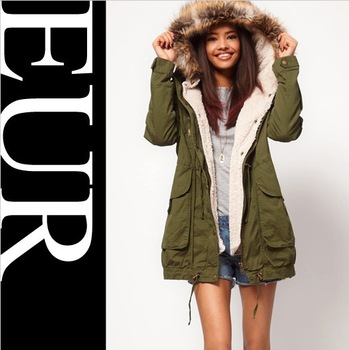 Faux Fur Hooded Army Green Outwear Winter Autumn Overcoat Large