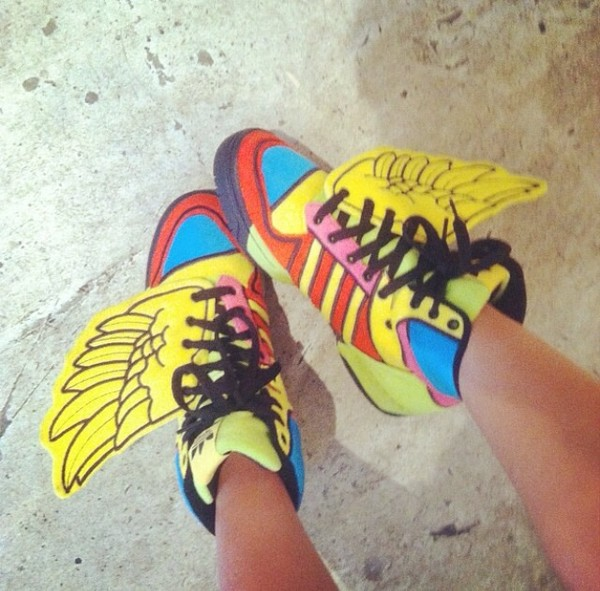 shoes jeremy scott x wings adidas colorful high top sneakers girl