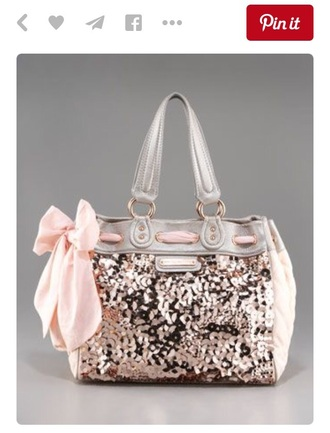 bag juicy couture pink light pink blush pink sexy sequins sparkle glitter purse girly cute
