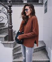 sweater,tumblr,brown,denim,jeans,grey jeans,bag,black bag,sunglasses,aviator sunglasses,fall outfits,rust,mens cable knit jumper