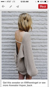 sweater,backless,dress,natural,cable knit,sweater dress,backless sweater