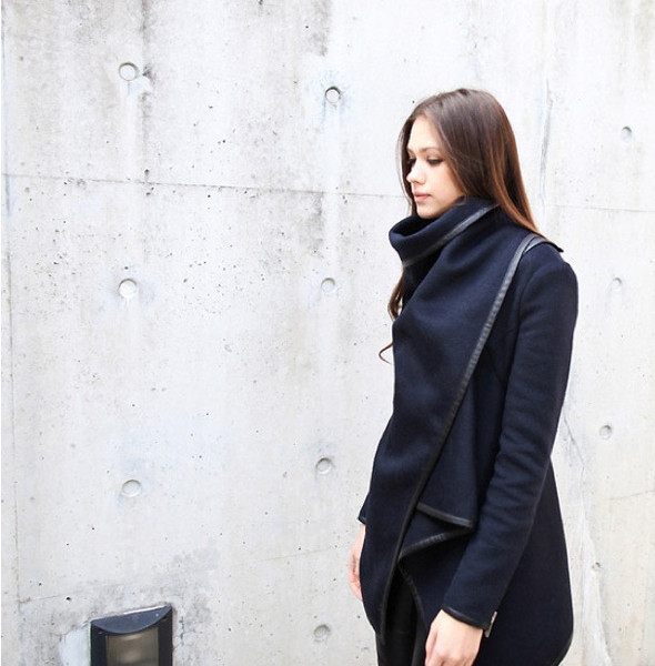 Asymmetric Wool Funnel Neck Coat