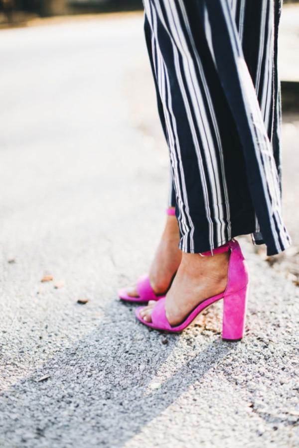 f3735f7fe2b Hot Pink Block Heel Sandals Ankle Strap Heels