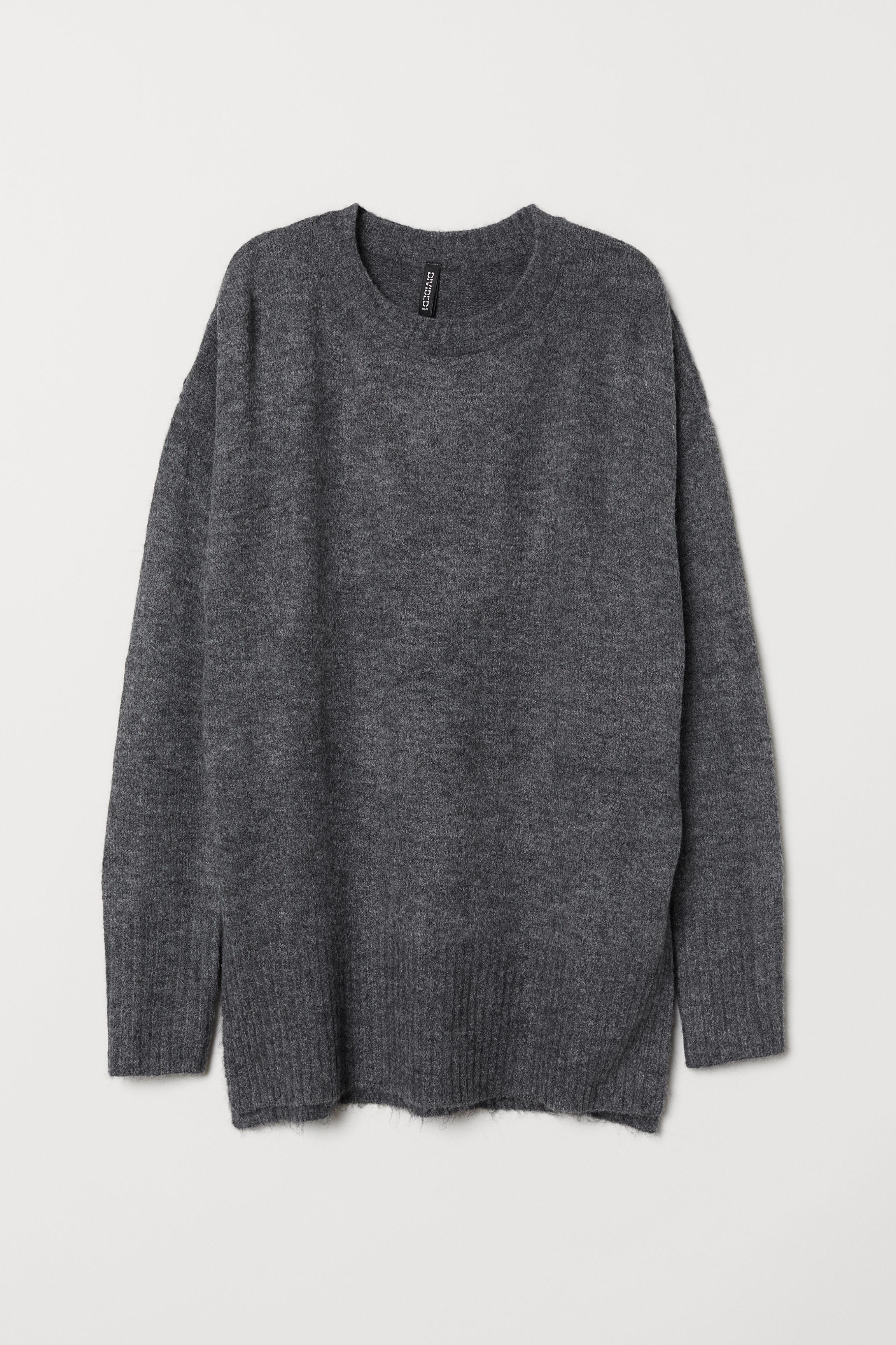 fbbfed30d7 Knit Sweater - Dark gray melange - Ladies