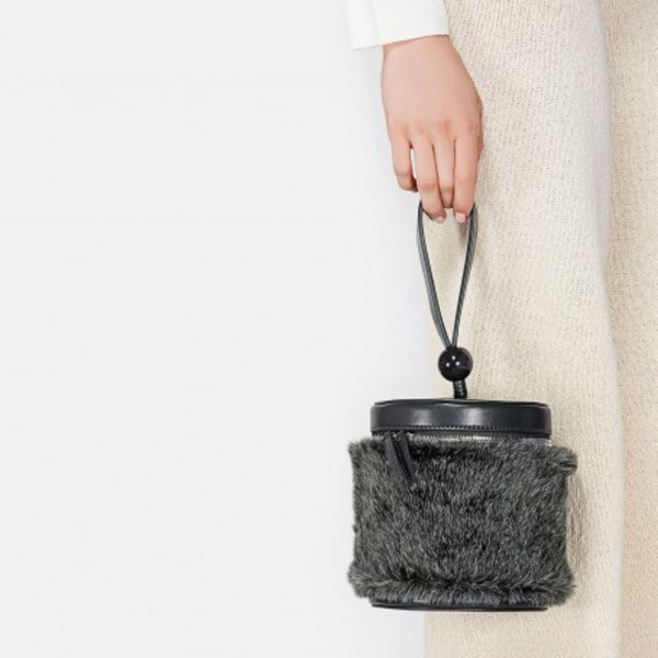 bag fluffy bucket hat bucket bag furry bag grey grey bag