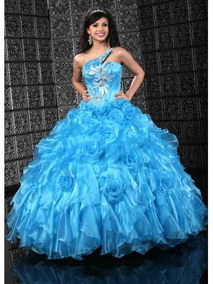 Buy Amazing One-shoulder Floor Lnength Ball Gown Quinceanera Dress under 400-SinoAnt.com