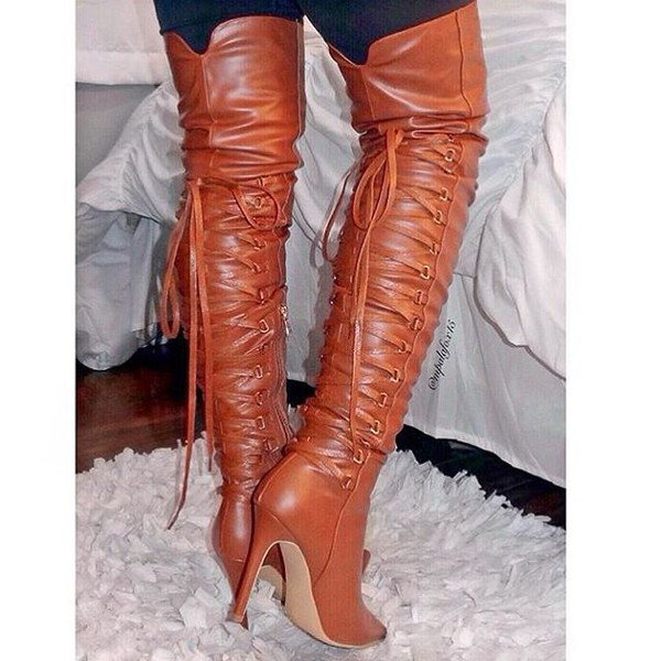 Camel Faux Leather Thigh High Pointy Boots @ Cicihot Heel Shoes