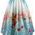 Poppy Flower Print Midi Skirt - Retro, Indie and Unique Fashion