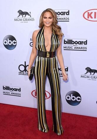 jumpsuit billboard music awards stripes chrissy teigen belt