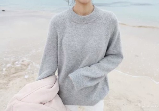 Sweater: wool, wool sweater, grey, grey sweater, cosy sweaters ...