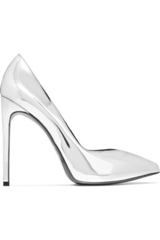 paris pumps silver leather shoes